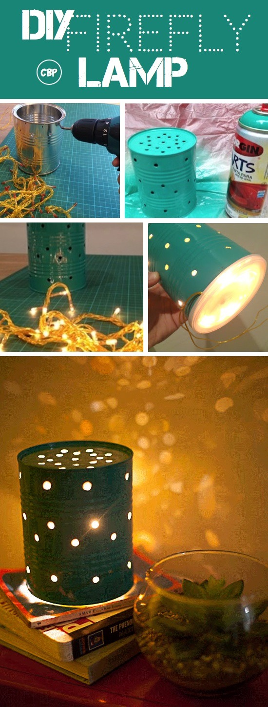 Just paint an old tin can add some Christmas lights for a cute lamp!