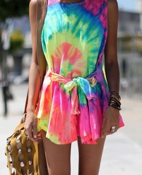 5. Do the classic spiral tie-dye but on a larger shirt; cut the sleeves off and use them as a tie to turn this into a cute day dress!