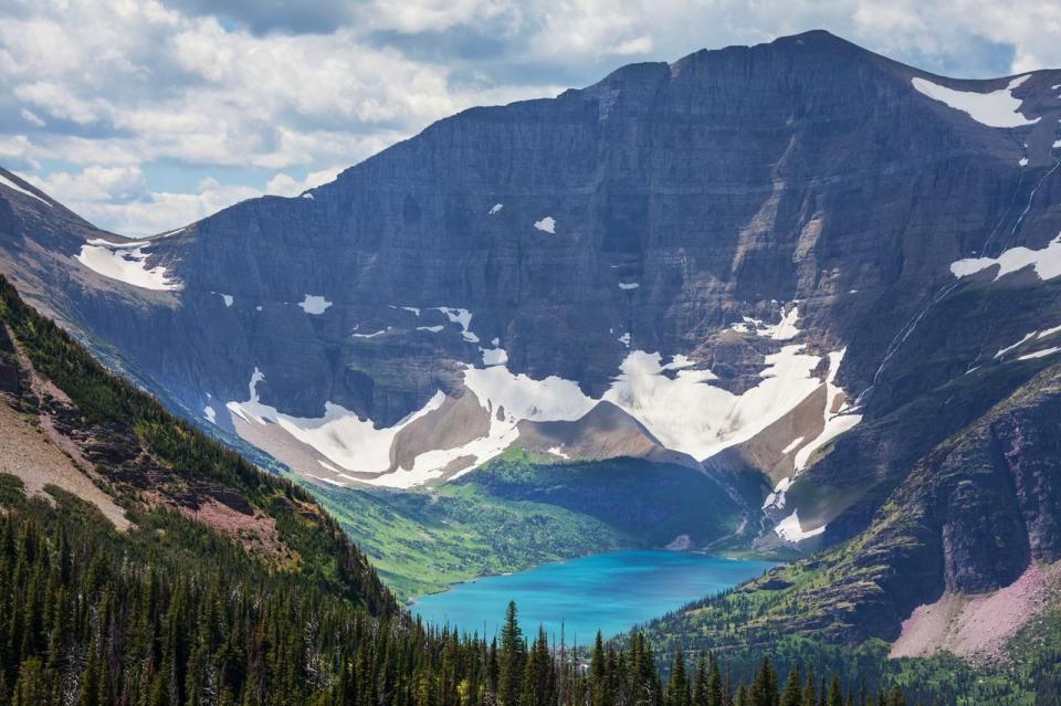 Glacier National Park—located in Montana on the Canadian-U.S. border, the park encompasses more than 1 million acres and includes parts of two mountain ranges that began forming 170 million years ago.