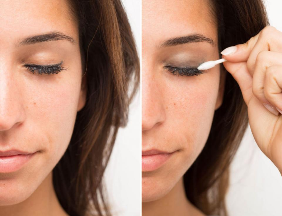 9. Take your eye makeup from a sleek daytime look to something sexier by smudging your liner with a cotton swab to diffuse it into a smoky eye look. No need to get out the whole makeup bag.