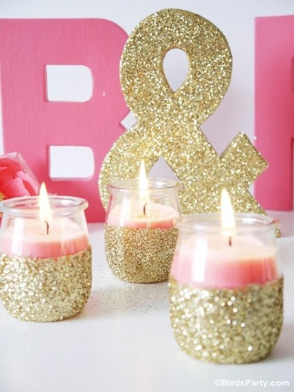 24. These glitter votives.  http://www.blog.birdsparty.com/2013/07/tutorial-diy-pink-candles-and-glitter.html#.UiCZ4dKBn6s