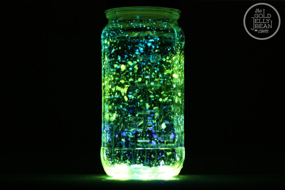 Now turn off the lights and watch them glow! Here is the first jar: