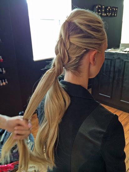 "Step 5:  Repeat the first four steps until you have as many ponytails/""bubbles"" as you would like. Make sure to leave enough hair to create the fishtail braid. Stretch the hair in elastics a bit so it appears fuller, then fishtail braid the remaining hair."