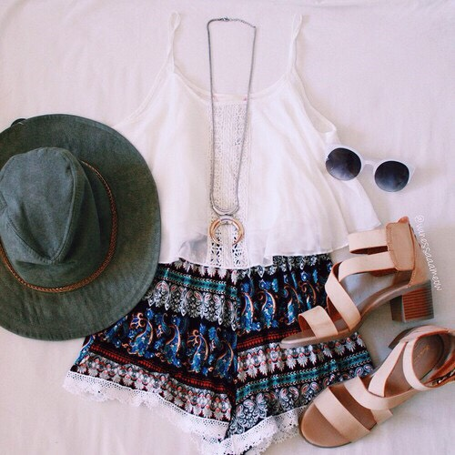•Crochet white shirt •Tribal printed shorts •Nude sandals •Army green hat •White sunglasses •Silver necklace