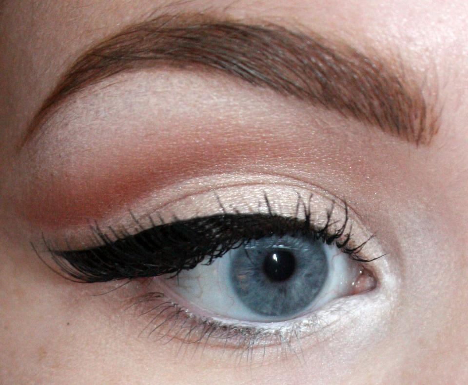 Using a white eyeliner pencil, I lined the inner half of my waterline. This will open up the eye without being as intense as a full white line under your eye.