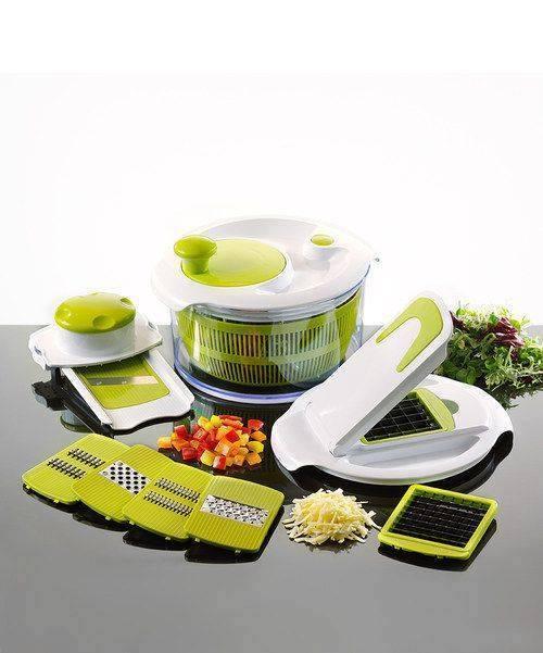 Food Chopper and Dicer for Fresh Fruits and Vegetables.   http://www.amazon.com/FreshCut-PREMIUM-Chopper-Vegetables-Wizard-Like/dp/B00J9UX2LG/ref=sr_1_1?ie=UTF8&qid=1413469845&sr=8-1&keywords=FreshCut+Pro+Dicer-  Salad Spinner