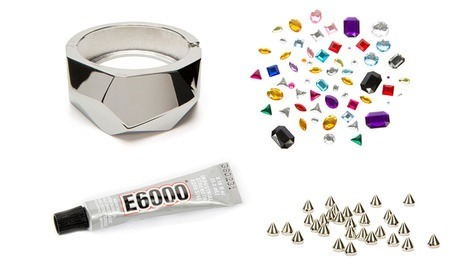 What you'll need: 1. An old bangle/bracelet 2. Favorite jewels & spikes 3. E6000 from you local crafting store (metal glue will work as well) 4. Place the jewels in desired location & fill in the small spots with the spikes 5. Wear & enjoy!!💕