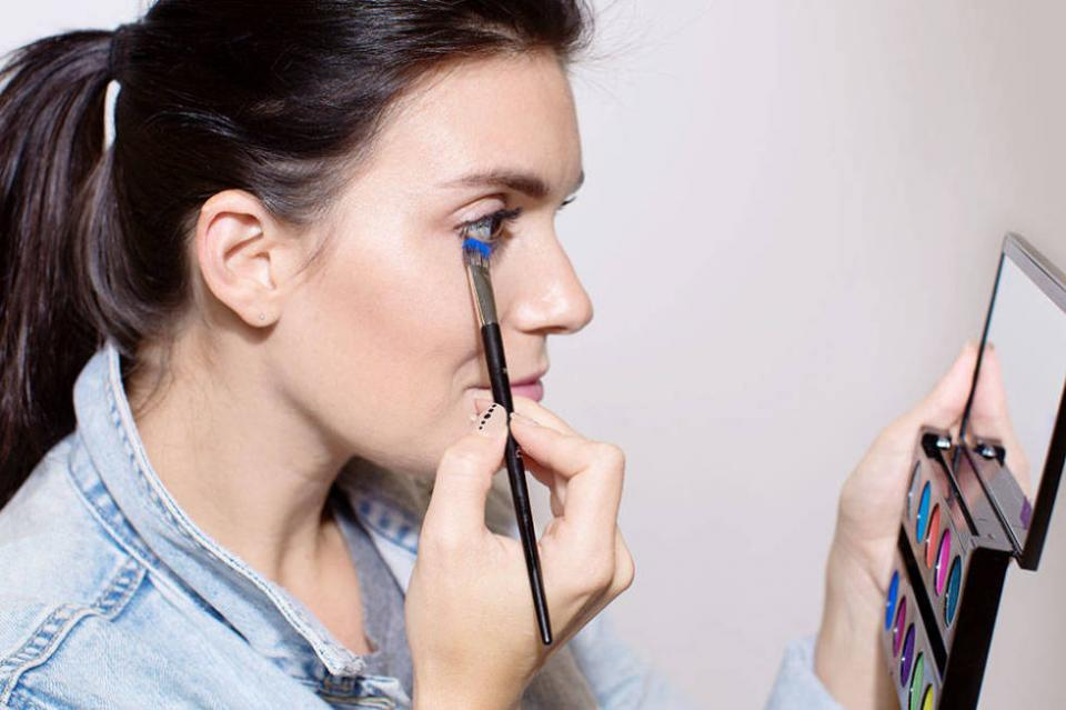 8. Make your own colored mascara by topping your lashes with colored eye shadow.