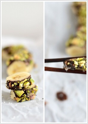 4. Let the chocolate harden for a couple of minutes, On hot summer days, put them in the freezer for a few minutes. 5. Cut them into bite-sized sushi pieces with a sharp knife. You can either eat the banana sushi right away or freeze it for an hour and two and enjoy it as easy vegan ice cream bites