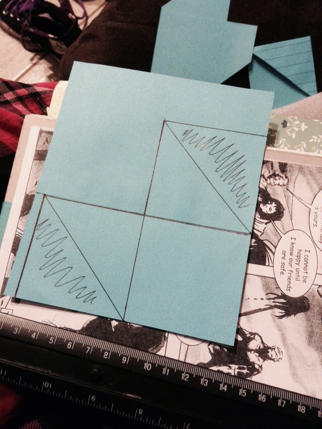 Second step: cross out those sides of the squares as shown above