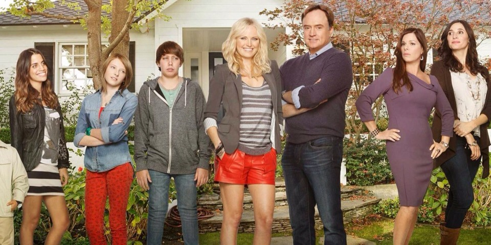 """10. """"Trophy Wife"""" (ABC).  What it's about: A reformed party girl (Malin Akerman) hopes the """"third time's the charm"""" when she becomes Pete's (Bradley Whitford) third wife, and inherits three stepchildren and two ex-wives (Marcia Gay Harden and Michaela Watkins)."""