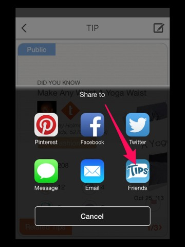 After selecting the share button, select 'friends.'