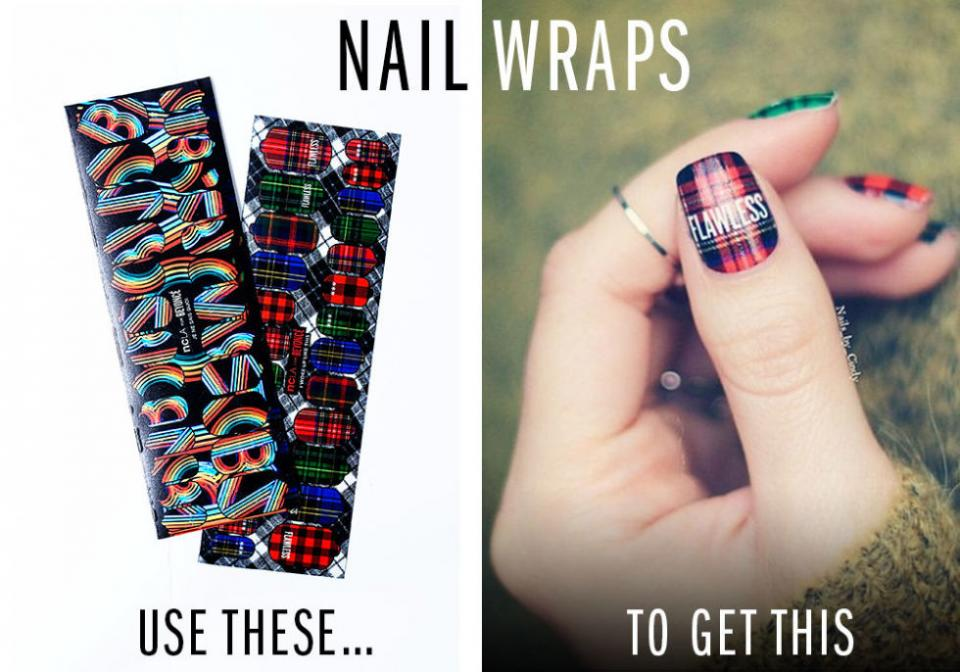 12. Nail Stickers/Wraps. If you don't have time to create cool nail art, pick up a premade design and press it onto your fingertips for notice-me nails. Try NCLA Nail Wraps.
