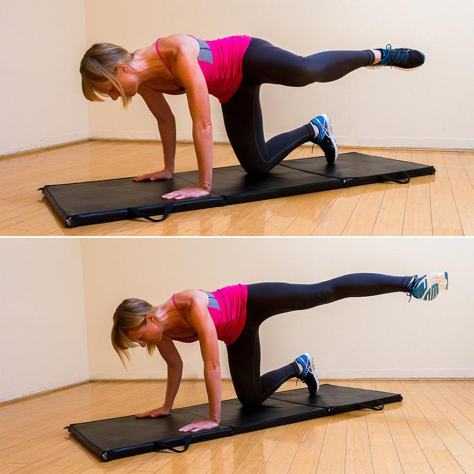 Side Kick on All Fours: Do three sets of 20 reps per side.