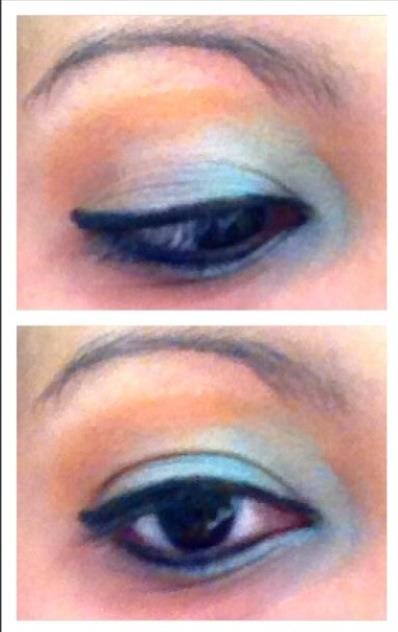 Aqua and orange eye shadow using the 168 full color professional makeup eyeshadow palette.