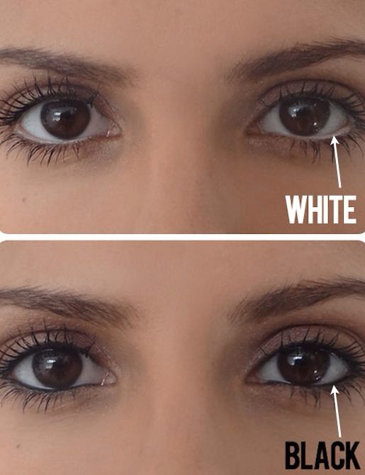 If you don't already own a white pencil, invest in one now just for this simple trick! Instead of lining your water line with dark eyeliner, use a white pencil to create the illusion of a bigger eye. If you squint your eyes a little at this picture comparison, you'll see what a difference it makes.