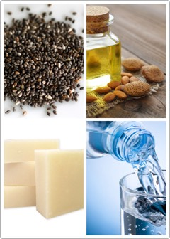 SUPPLIES | + 1/2 – 1 cup of clear glycerin soap base + 2 tablespoons water + 2 tablespoons oil (olive oil, coconut oil, almond oil, honey, etc) + Dry ingredients (chia seeds, cornmeal, oatmeal or coffee) + Soap mold container (I use glass storage containers)
