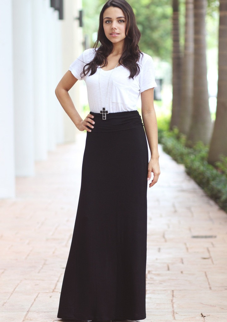 Maxi skirts are kind to your figure