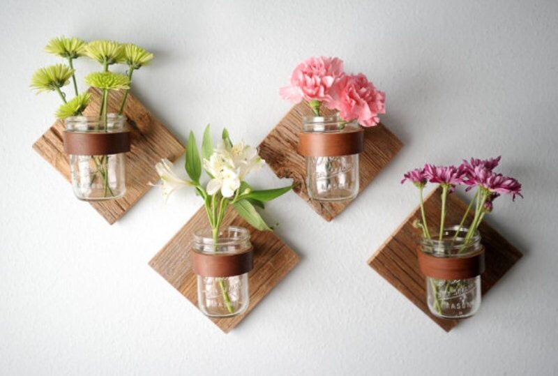 Same procedure as the last one. Bolt the jars to wood hand the wood and put in some flowers