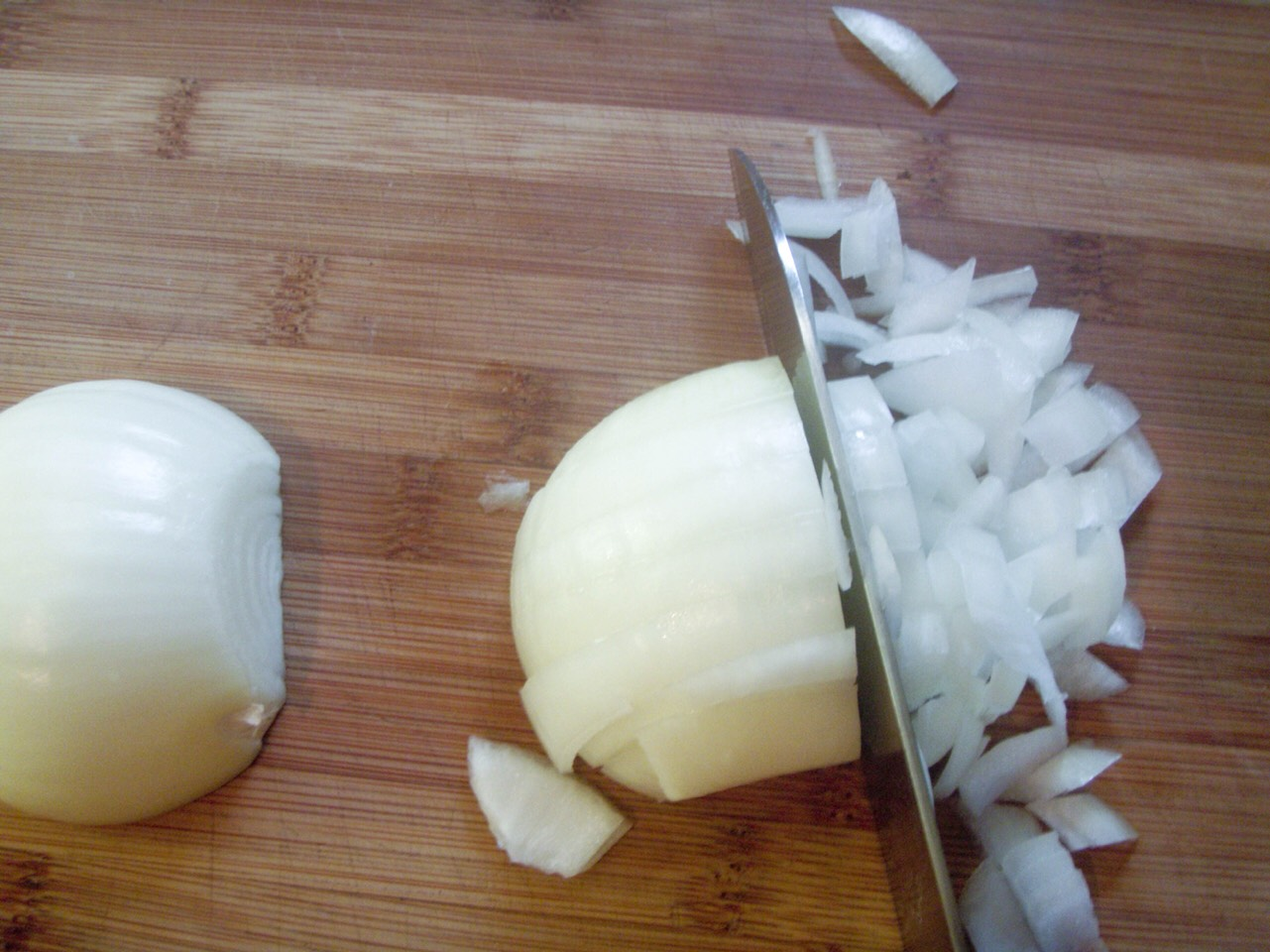 Second cut your onions up into small pieces.