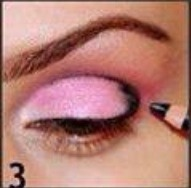 After that get a black eyeliner and fill in the outer corner and three-quarters of the way in the crease.