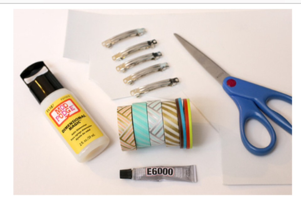 Supplies~ * barrette blanks * washi tape * white craft foam * E6000 craft glue * mod podge Dimensional Magic * scissors * toothpicks