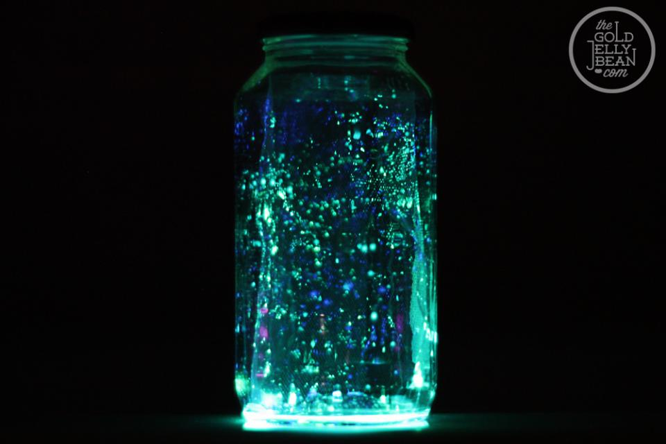 And here is the jar with the white tulle. As you can see it looks a little more like that Photo-shopped fairy jar, there are glowing specks that appear to be floating and suspended in mid-air.