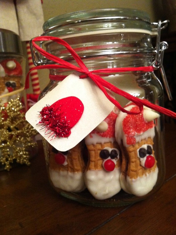Nutter butter santas in a jar