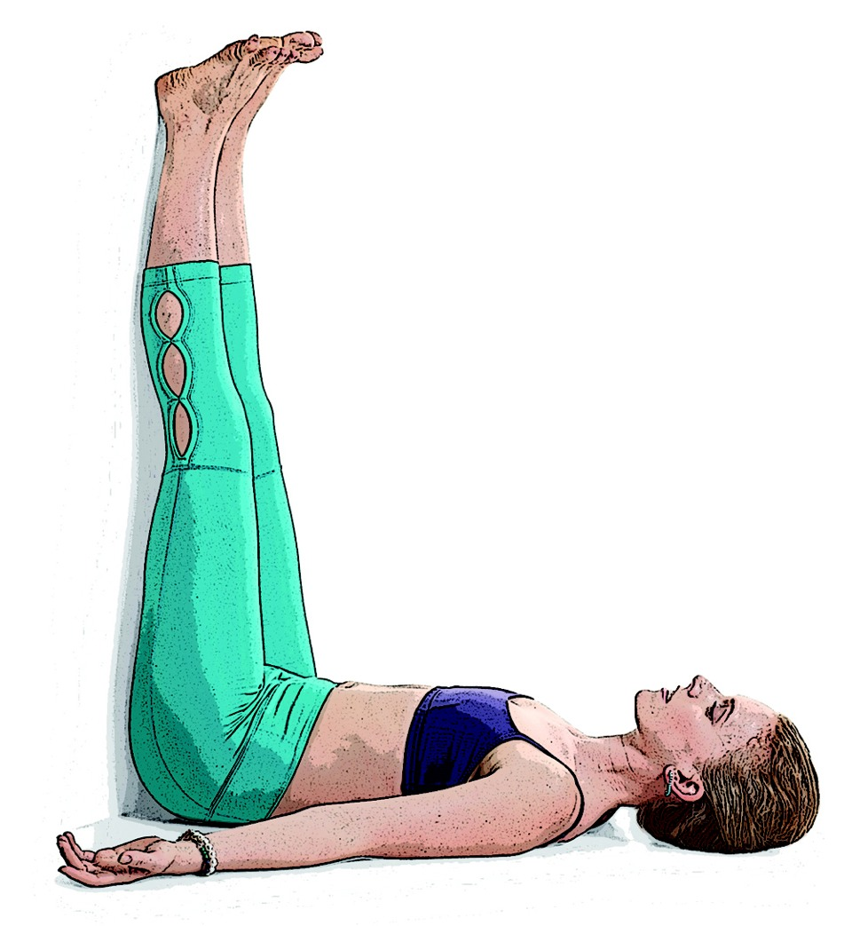 Legs up the wall: this pose eases tension from your legs and back. It's good for pms or jet lag to.