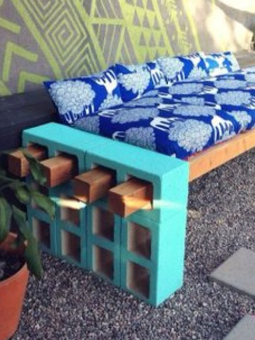 Use cement blocks and wood to make easy patio furniture