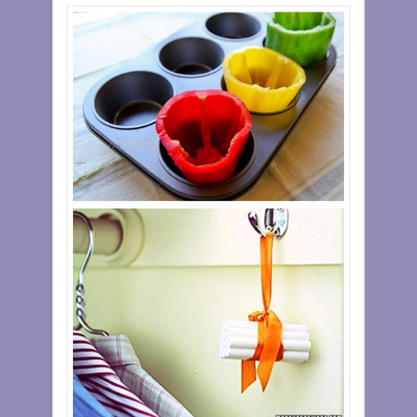 27. Use a large muffin tin to cook stuffed peppers in the oven, it keeps them upright. 28. Hang a bundle of chalk in the closet to keep everything fresh and dry