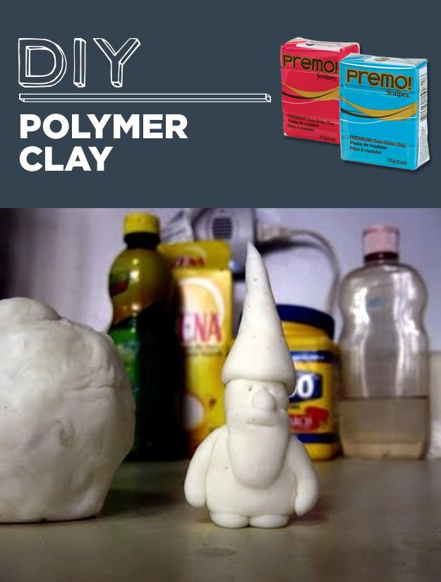 8. DIY Polymer Clay  3/4 cup white glue 1 cup cornstarch 2 tablespoons mineral oil (I used baby oil but reportedly even vaseline will work) 1 tablespoon lemon juice