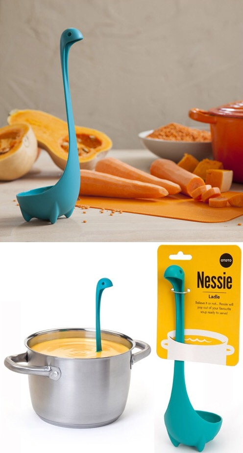 Whimsical Ladles and Spoon Rests This would be the perfect example of an instance where you can turn a functional item in your kitchen into a stylish piece with quick swap-out. Plus, theNessie Ladleis finally in stock and available on Amazon! http://www.ototodesign.com/collections/all-products