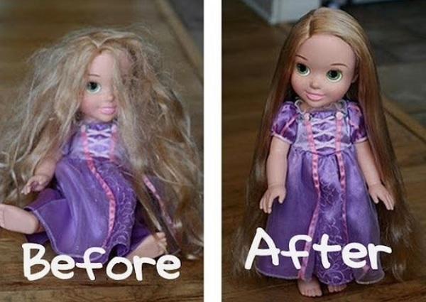 Make some easy dolly hairspray with 2 tbsp fabric softener and water. Look at the transformation!
