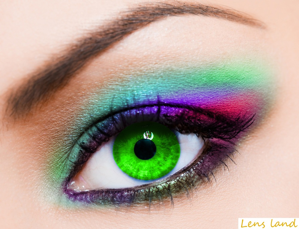 For bright green eyes use purple, brown blue eyes shadow shades