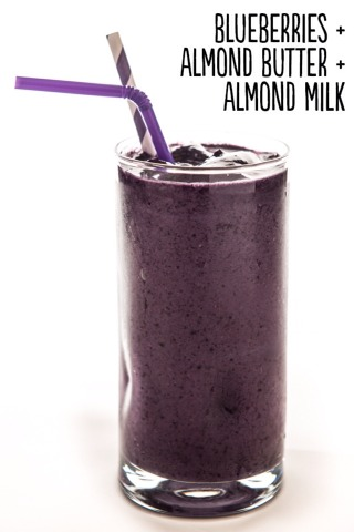 How to: Place ¾ cup frozen blueberries, 1 tablespoon almond butter, and ½ cup unsweetened almond milk into a blender. Blend until smooth. Serves 1.  Extras: Add 2 tablespoons unsweetened, shredded coconut, a peeled frozen banana, 1 teaspoon pure vanilla extract, 2 tablespoons rolled oats