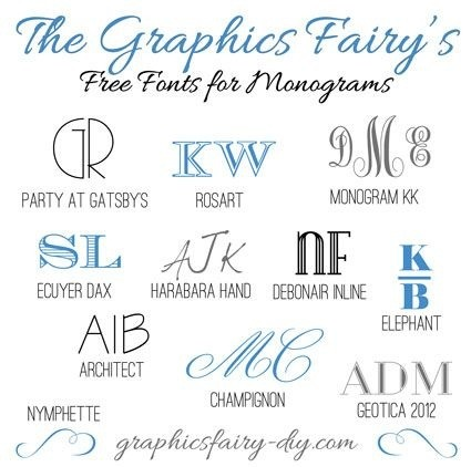 http://thegraphicsfairy.com/favorite-free-fonts-for-creating-monograms/