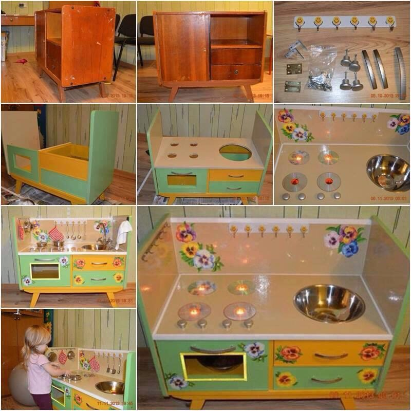 Old dresser into a kitchen playset