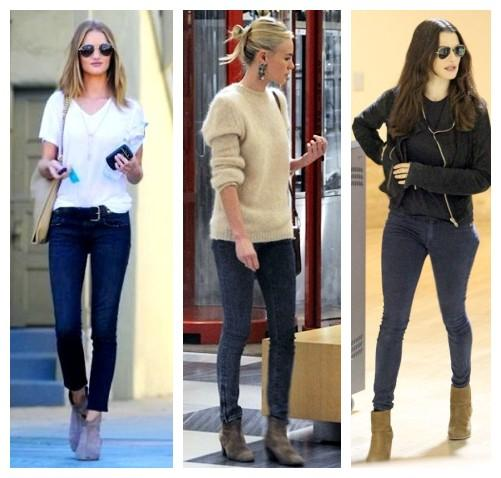Skinny jeans are barely cuffed (not enough to change the length) and then worn with the ankle boots.