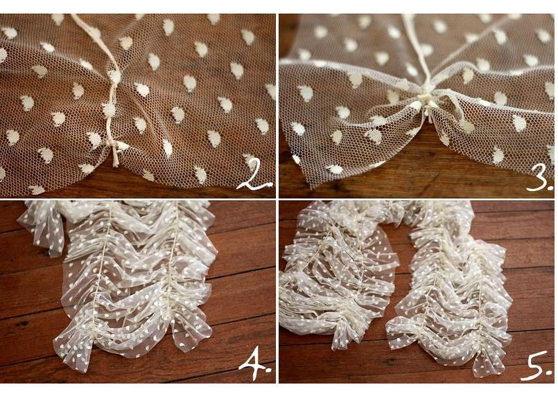 Start your first ruffle 2 inches from the side. Simply secure the first stitch with a knot and start stitching every 1/4 of an inch. (For larger ruffles make your stitches 1/2 or 1/3 of an inch). Once there are a few stitches, lightly pull the thread tight, causing the fabric to ruffle.