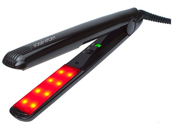 Flat Iron Your Way to Healthier Hair  This might looking like just another flat iron, but it isn't. This is actually a tool that applies infrared light and ultrasonic vibration to your hair, allowing treatment products to work more effectively.   Try: Jose Eber Therapy RX Moisture Boosting Tool $200