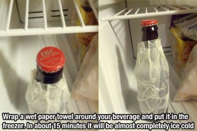 You can get your beverages really cold faster by putting a wet paper towel on them in the freezer!