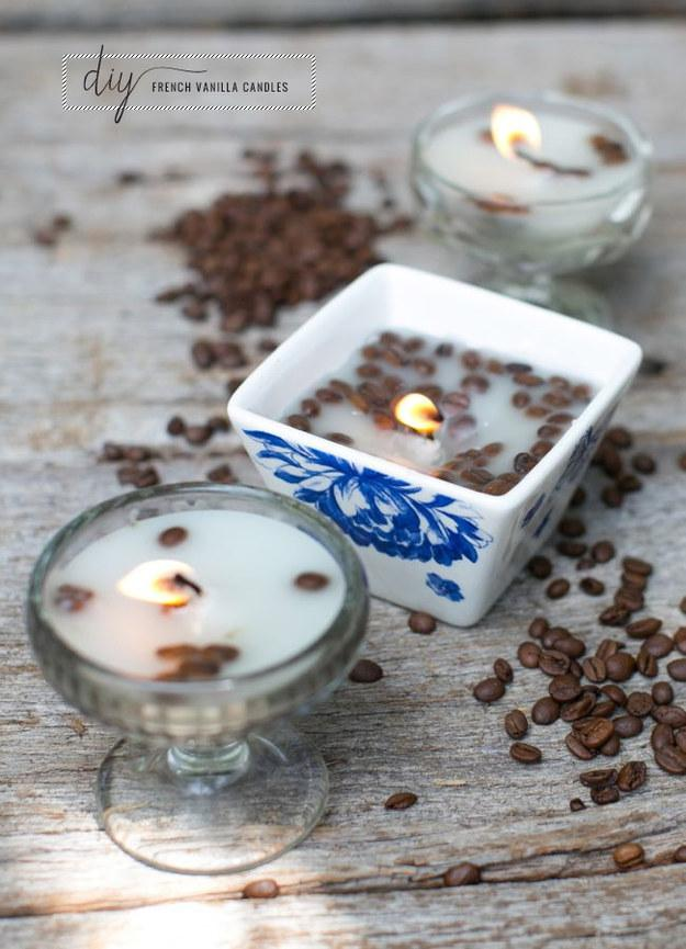 3. These candles made with vanilla and coffee beans.  http://hellonatural.co/diy-candles/