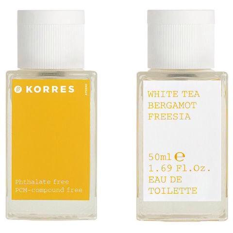 The notes: bergamot, tangerine, neroli, white tea, freesia, cotton, woods  It smells like: An orange creamsicle  Korres White Tea Bergamot Freesia, $38.50, available in June on sephora.com.