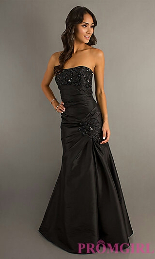 Ruched Strapless Black Dress