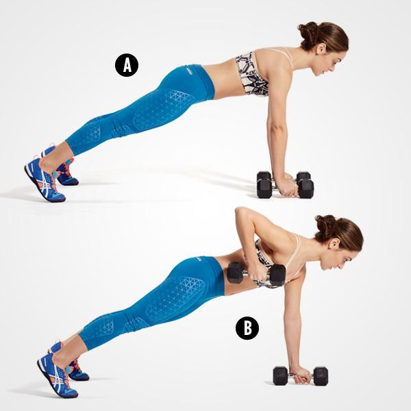 MOVE 3Renegade RowGrab a pair of dumbbells and get into a pushup position with your hands on the weights and your feet slightly more than hip-width apart (A). Brace your core, then bend your right elbow to pull the weight toward your chest, keeping your hips parallel to the floor