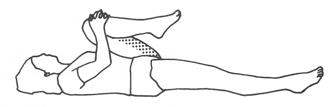 KNEE TO CHEST: Hold for 30 seconds for each leg 4x.
