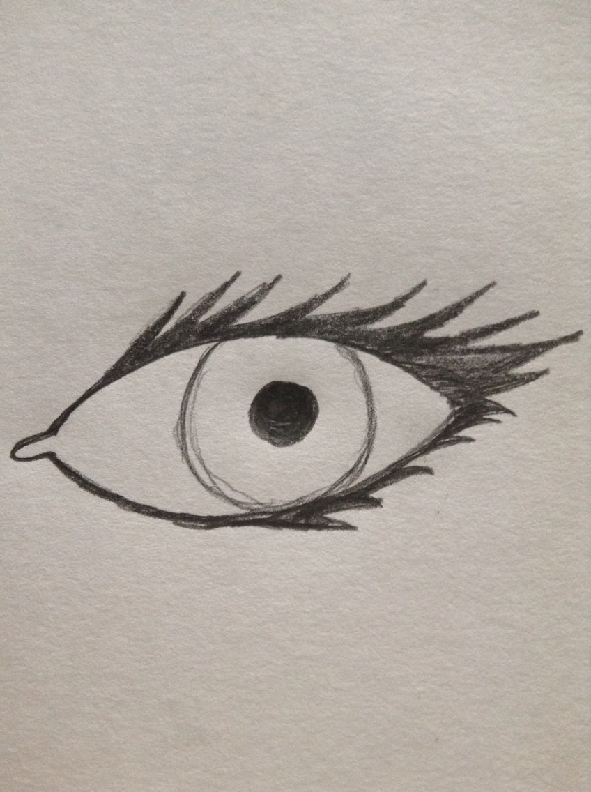 Now draw the eyelashes. They should be thicker at the outside of the eye then the inside
