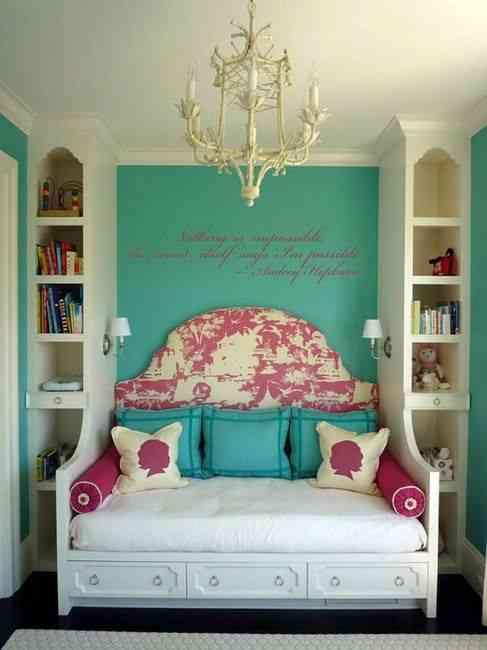 How adorable is this? All built in. Shelving plus flat piece for cushion. Make as long/ wide as you wish - the difference between a couch, a day bed and a full out bed. Love.