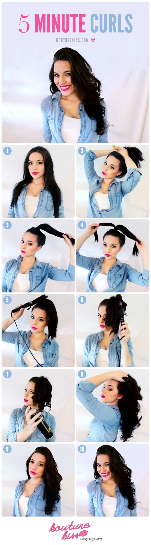 1: Begin with your hair in it's natural texture. I like to put a bit of heat protectant in my hair before I begin as well. 2,3: Pull your hair back into a high ponytail. It doesn't need to be perfect, just make sure there aren't too many bumps and it is as high on your head as you can it while clea